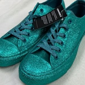 2 FOR 85 Converse Glitter Teal Low Tops